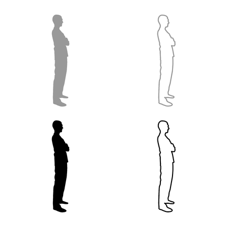 Man standing with hands crossed Dentist surgeon in medical clothes with folded hands on his chest Concept of the end of surgery operation Side view icon set grey black color vector illustration outline flat style simple image Illusztráció