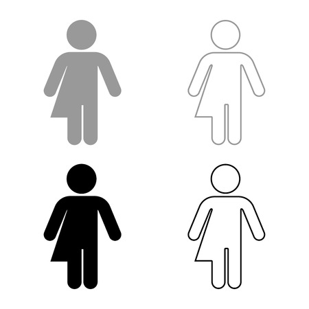 Symbol concept of gender loyalty Transvestite concept Homosexual icon set grey black color vector illustration outline flat style simple image Illustration