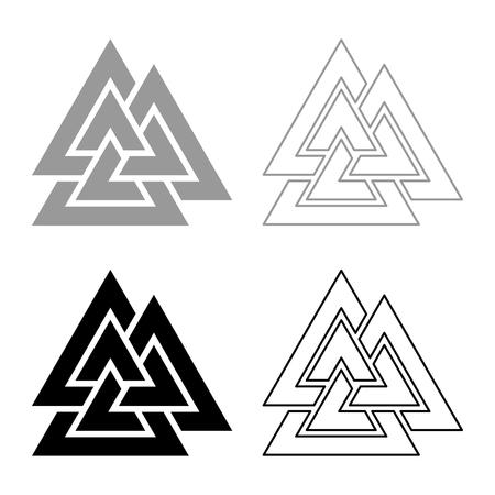 Valknut sign symblol icon set grey black color vector illustration outline flat style simple image  イラスト・ベクター素材