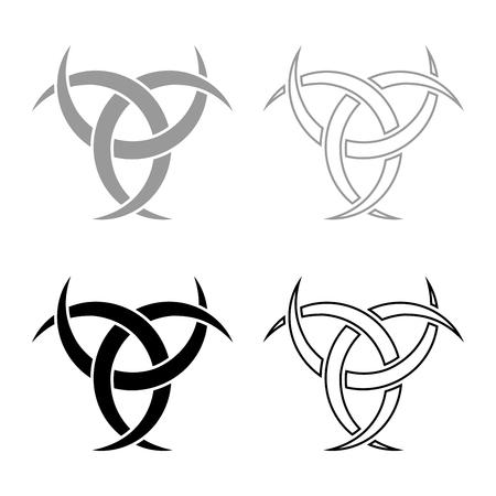 Odin horn paganism symbol icon set grey black color vector illustration outline flat style simple image