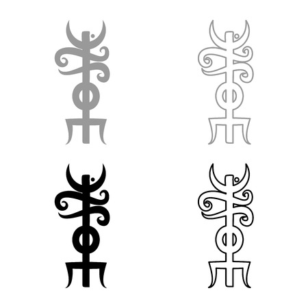 Name Odin rune Rune hide the name of Odin galdrastav icon set grey black color vector illustration outline flat style simple image