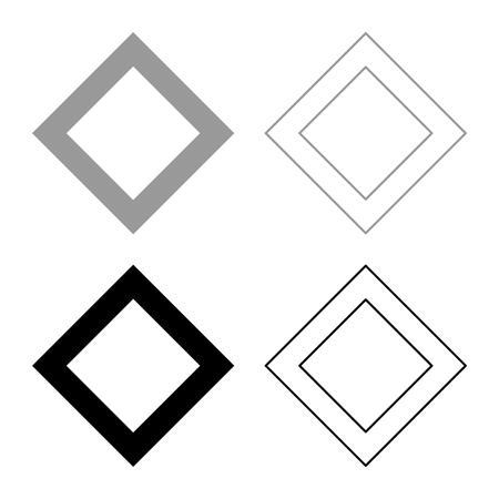 Ingwaz rune Inguz living ing symbol icon set grey black color vector illustration outline flat style simple image Banco de Imagens - 125882087