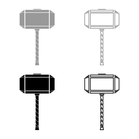 Thor's hammer Mjolnir icon set grey black color vector illustration outline flat style simple image