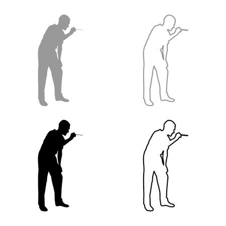 Doctor bent down holding spatula to examine throat Otolaryngologist examines throat tonsils icon set grey black color vector illustration outline flat style simple image Illustration