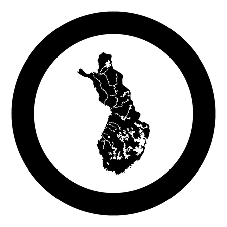 Map of Finland icon black color vector in circle round illustration flat style simple image