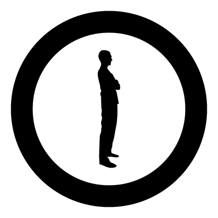 Man standing with hands crossed Dentist surgeon in medical clothes with folded hands on his chest Concept of the end of surgery operation Side view icon black color vector in circle round illustration flat style simple image