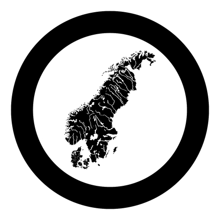 Map of Scandinavia icon black color vector in circle round illustration flat style simple image