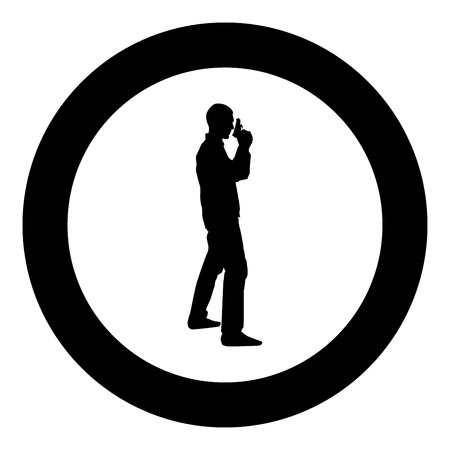 Man with gun Hazard concept icon black color vector in circle round illustration flat style simple image