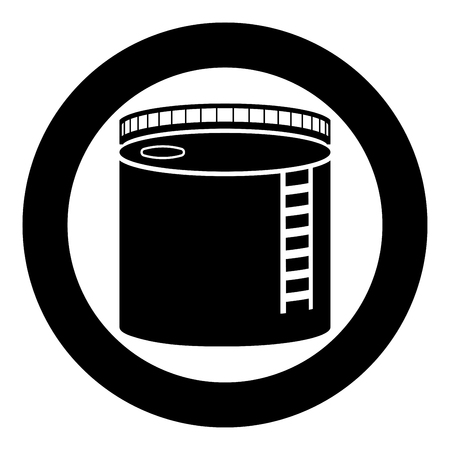 Tank with oil Oil storage tank Heating oil icon black color vector in circle round illustration flat style simple image Ilustração