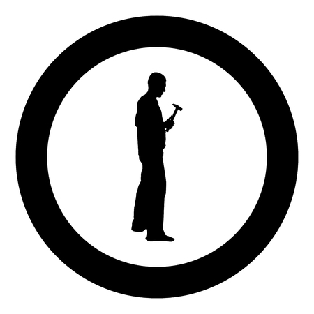 Repairman master man in overalls with tool in his hands hammer icon black color vector in circle round illustration flat style simple image