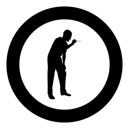 Doctor bent down holding spatula to examine throat Otolaryngologist examines throat tonsils icon black color vector in circle round illustration flat style simple image Illustration
