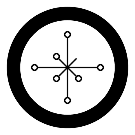 Helm of awe aegishjalmur or egishjalmur galdrastav icon black color vector in circle round illustration flat style simple image