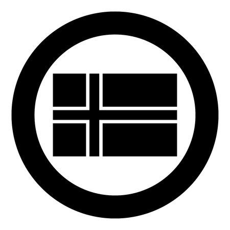 Flag of Norway icon black color vector in circle round illustration flat style simple image