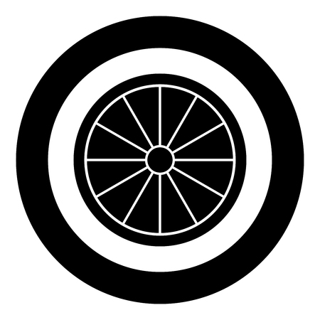 Viking shield icon black color vector in circle round illustration flat style simple image Imagens - 124655074