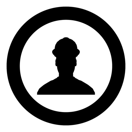 Avatar builder architect engineer in helmet view icon black color vector in circle round illustration flat style simple image