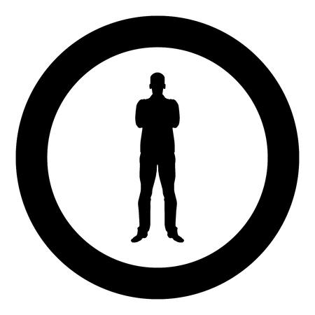 L'homme avec les bras croisés concept confiance homme d'affaires icône vecteur de couleur noire en cercle autour de l'image simple style illustration télévision