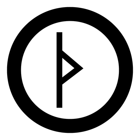 Thurisaz rune Tpurizas Tor Thorn icon black color vector in circle round illustration flat style simple image Ilustração