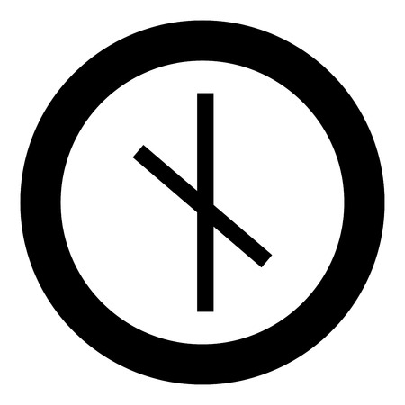 Nauthis rune Neidis need night not symbol icon black color vector in circle round illustration flat style simple image
