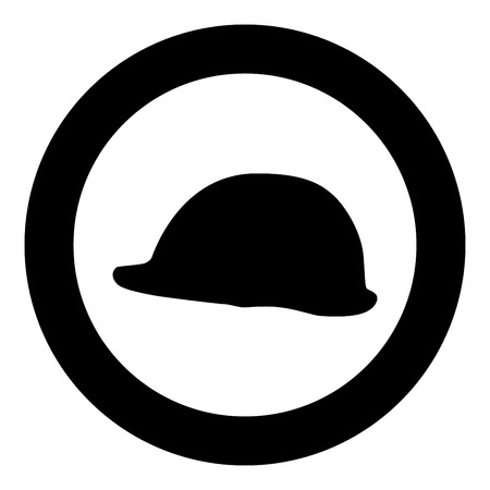 Helmet safe work at a construction site For safety work on construction icon black color vector in circle round illustration flat style simple image