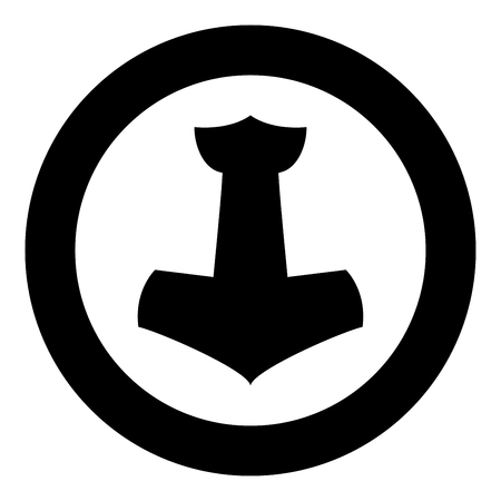 Thor's hammer Mjolnir icon black color vector in circle round illustration flat style simple image Stock Illustratie