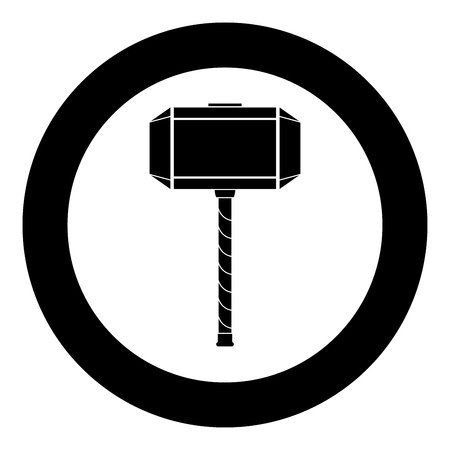 Thors hammer Mjolnir icon black color vector in circle round illustration flat style simple image