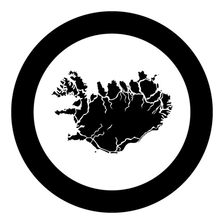 Map of Iceland icon black color vector in circle round illustration flat style simple image