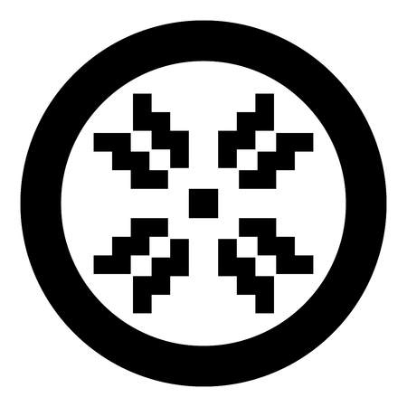 Scandinavian pattern icon black color vector in circle round illustration flat style simple image