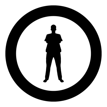 Man standing with hands crossed Dentist surgeon in medical clothes with folded hands on his chest Concept of the end of surgery operation Front view icon black color vector in circle round illustration flat style simple image