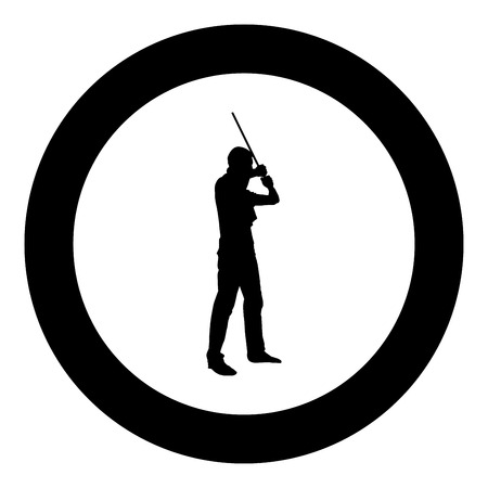Man with bandana on his face that hides his identity man holds stick in hand Concept of rebellion Concept protest and danger icon black color vector in circle round illustration flat style simple image