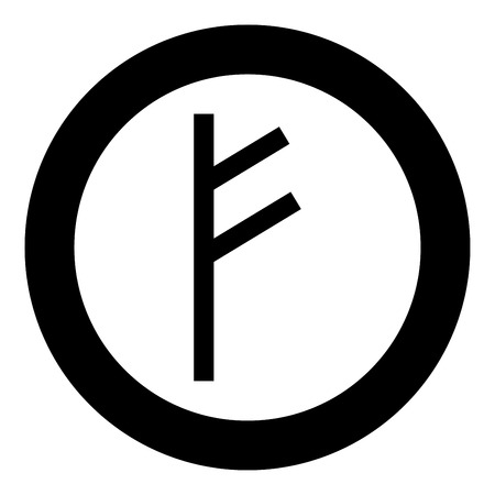 Fehu rune F symbol feoff own wealth icon black color vector in circle round illustration flat style simple image