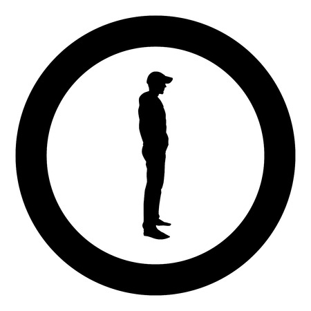 Man standing in cap view with side icon black color vector in circle round illustration flat style simple image Imagens - 124655085