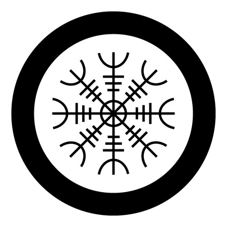 Helm of awe aegishjalmur or egishjalmur icon black color vector in circle round illustration flat style simple image  イラスト・ベクター素材