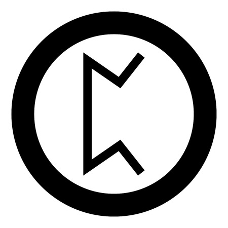 Perth rune pertho pear hidden game symbol icon black color vector in circle round illustration flat style simple image Ilustração
