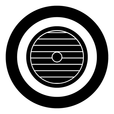 Viking shield icon black color vector in circle round illustration flat style simple image Imagens - 124655090