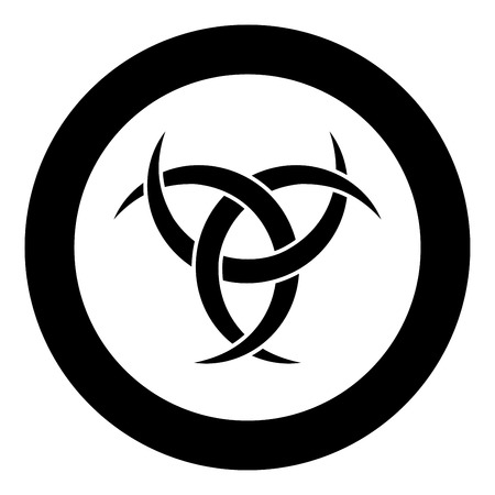 Odin horn paganism symbol icon black color vector in circle round illustration flat style simple image Illustration