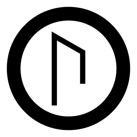 Rune Uruz Urus aurochs power icon black color vector in circle round illustration flat style simple image Illustration