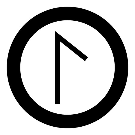 Lagu rune Laguz lake lagoon symbol icon black color vector in circle round illustration flat style simple image Ilustração
