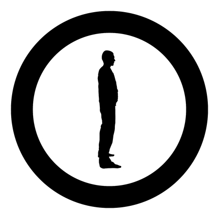 Man stands dressed in work clothes overalls and looks straight icon black color vector in circle round illustration flat style simple image