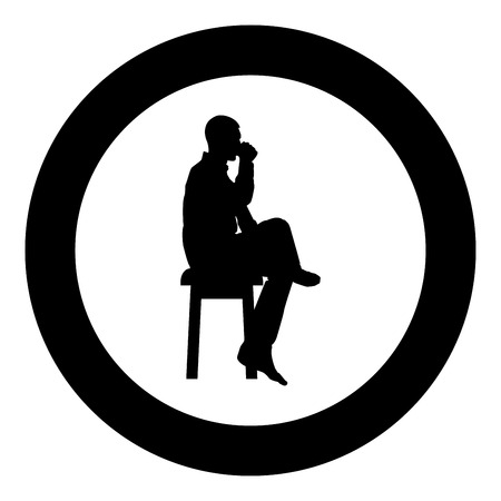 Man drinking from mug sitting on stool with crossed leg Concept relax icon black color vector in circle round illustration flat style simple image