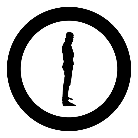 Man with bandana on his face that hides his identity Concept of rebellion Concept protest icon black color vector in circle round illustration flat style simple image