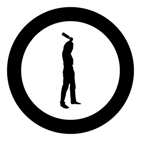 Man with bandana on his face that hides his identity and bottle in hand Concept of rebellion Concept protest and danger icon black color vector in circle round illustration flat style simple image