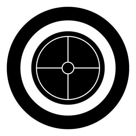Viking shield icon black color vector in circle round illustration flat style simple image Illustration