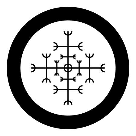 Helm of awe aegishjalmur or egishjalmur galdrastav icon black color vector in circle round illustration flat style simple image