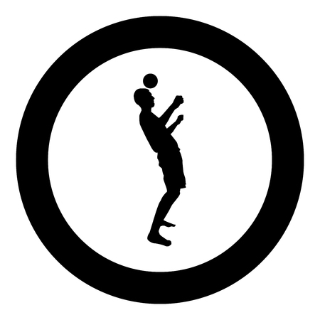 Man kicks the ball on head. Soccer player taps ball with his head Football concept Juggling trick with ball icon black color vector in circle round illustration flat style simple image