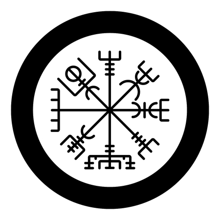 Vegvisir runic compass galdrastav Navigation compass symbol icon black color vector in circle round illustration flat style simple image