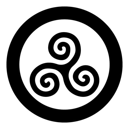 Triskelion or triskele symbol sign icon black color vector in circle round illustration flat style simple image
