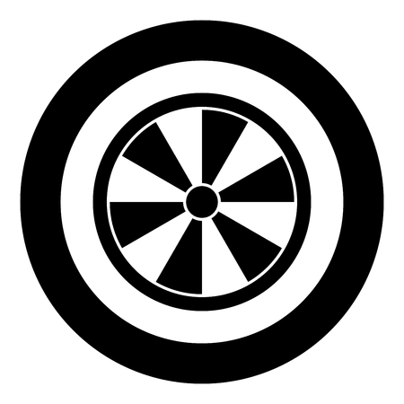 Viking shield icon black color vector in circle round illustration flat style simple image Ilustração