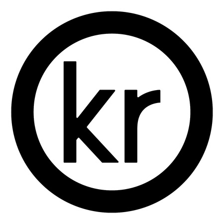 Krone of Denmark Danish krone icon black color vector in circle round illustration flat style simple image Illustration