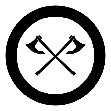 Two battle axes vikings icon black color vector in circle round illustration flat style simple image