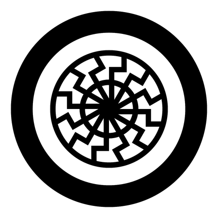 Black sun symbol icon black color vector in circle round illustration flat style simple image Ilustração